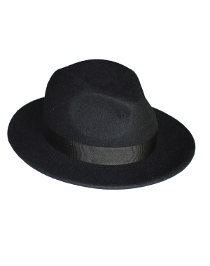 kapelusz fedora black classic z opaską