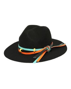 kapelusz indy etno czarny kolorowy pasek 2