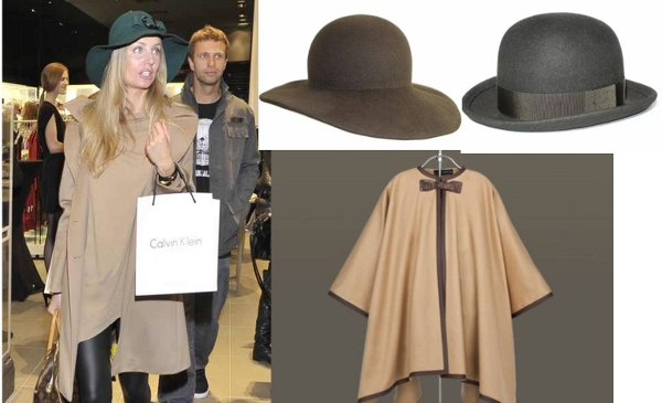 peleryna jasna i kapelusz