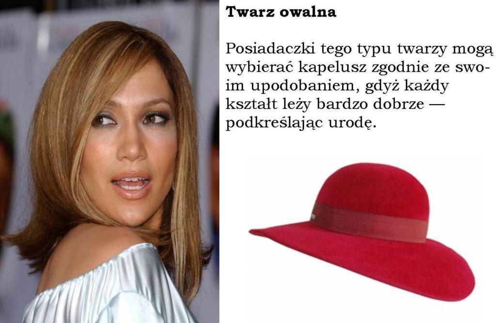 twarz owalna i odpowiednio dobrany do niej kapelusz