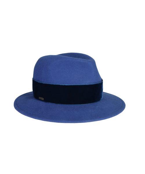 kapelusz fedora niebieski velvet 3
