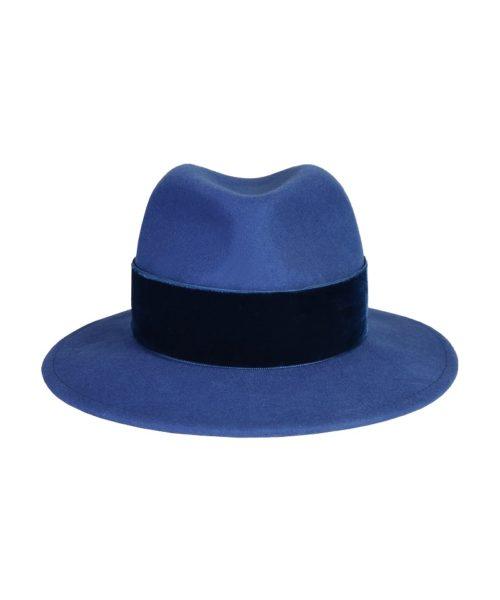 kapelusz fedora niebieski velvet 2