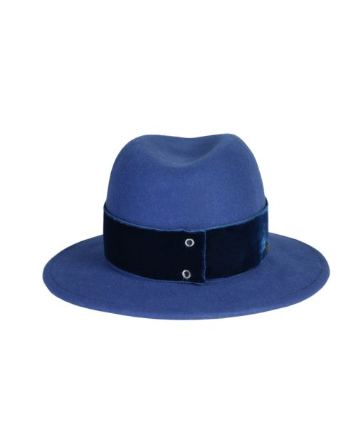 kapelusz fedora niebieski velvet