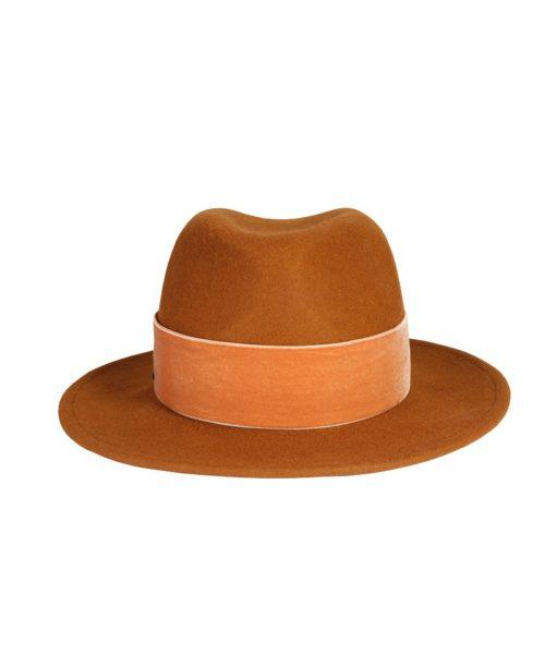 kapelusz fedora rudy velvet 2