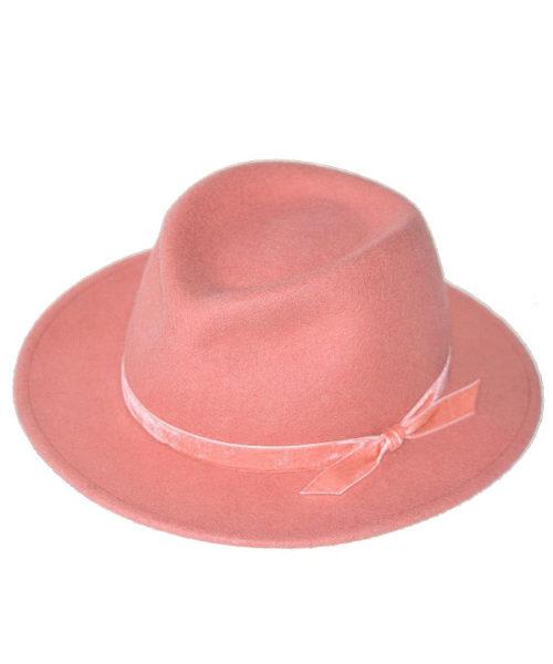 kapelusze fedora damskie różowe