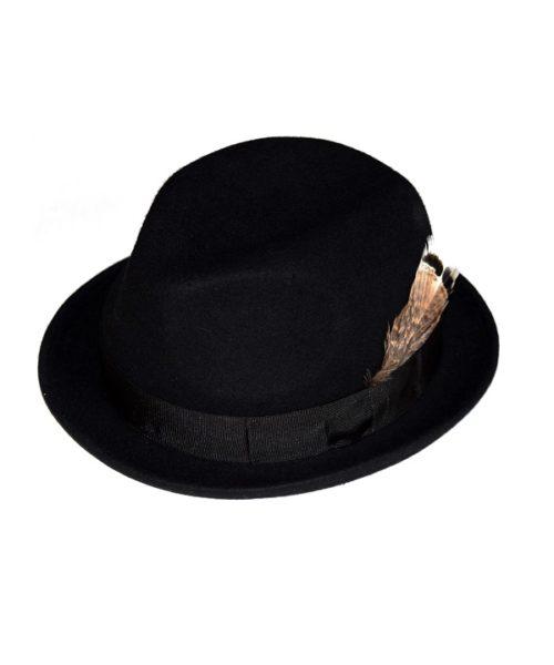 kapelusz pork pie czarny z piórkiem