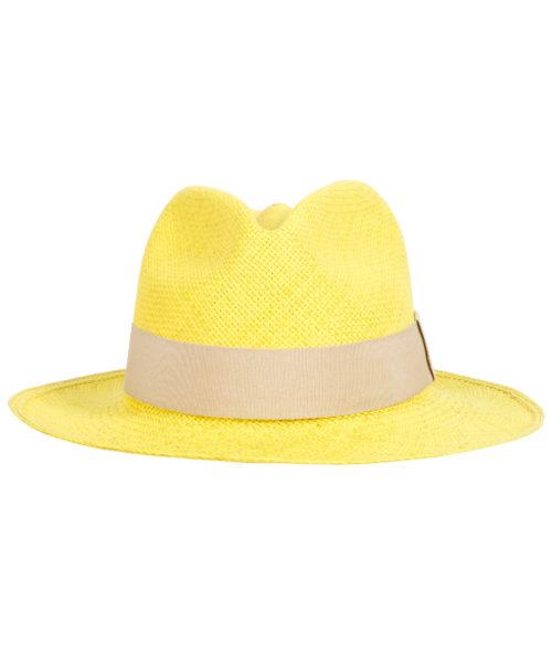 żółty kapelusz z białym paskiem