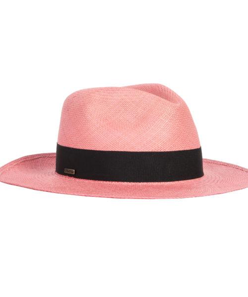kapelusz klasyczny różowy panama