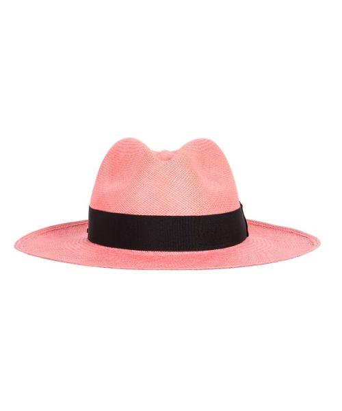 kapelusz klasyczny panama różowy