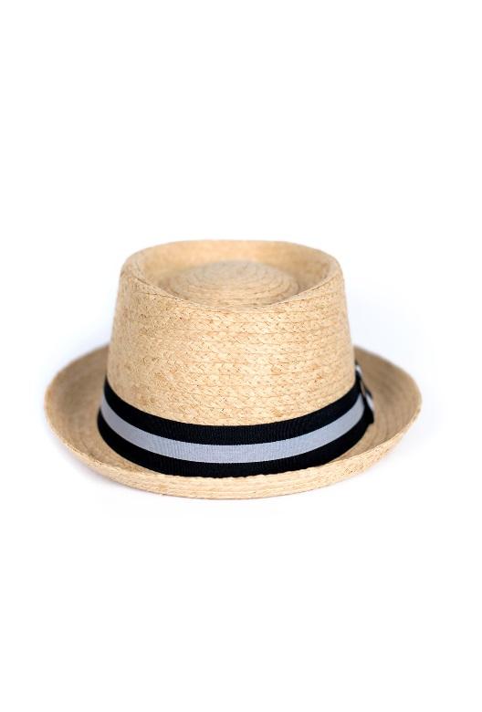 kapelusz słomiany z biało czarnym paskiem pork pie