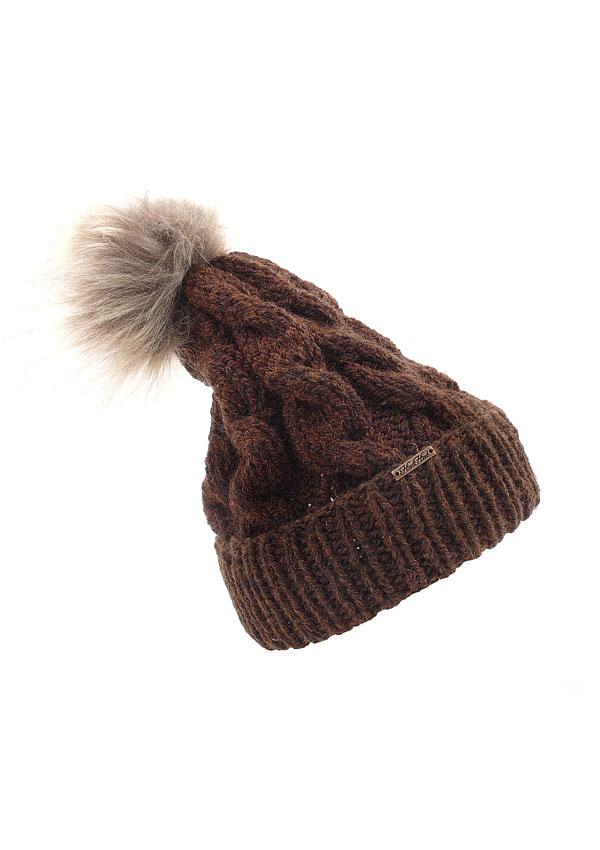 czapka z pomponem brąz